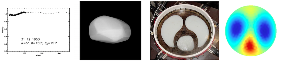 A picture of two different inverse problems: recovering the asteroid's shape from light curve data, and electrical impedance tomography.
